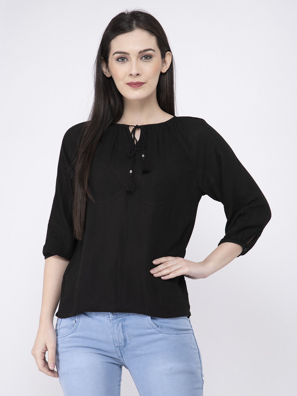 FAIRIANO Casual 3/4 Sleeve Solid Women Black Top