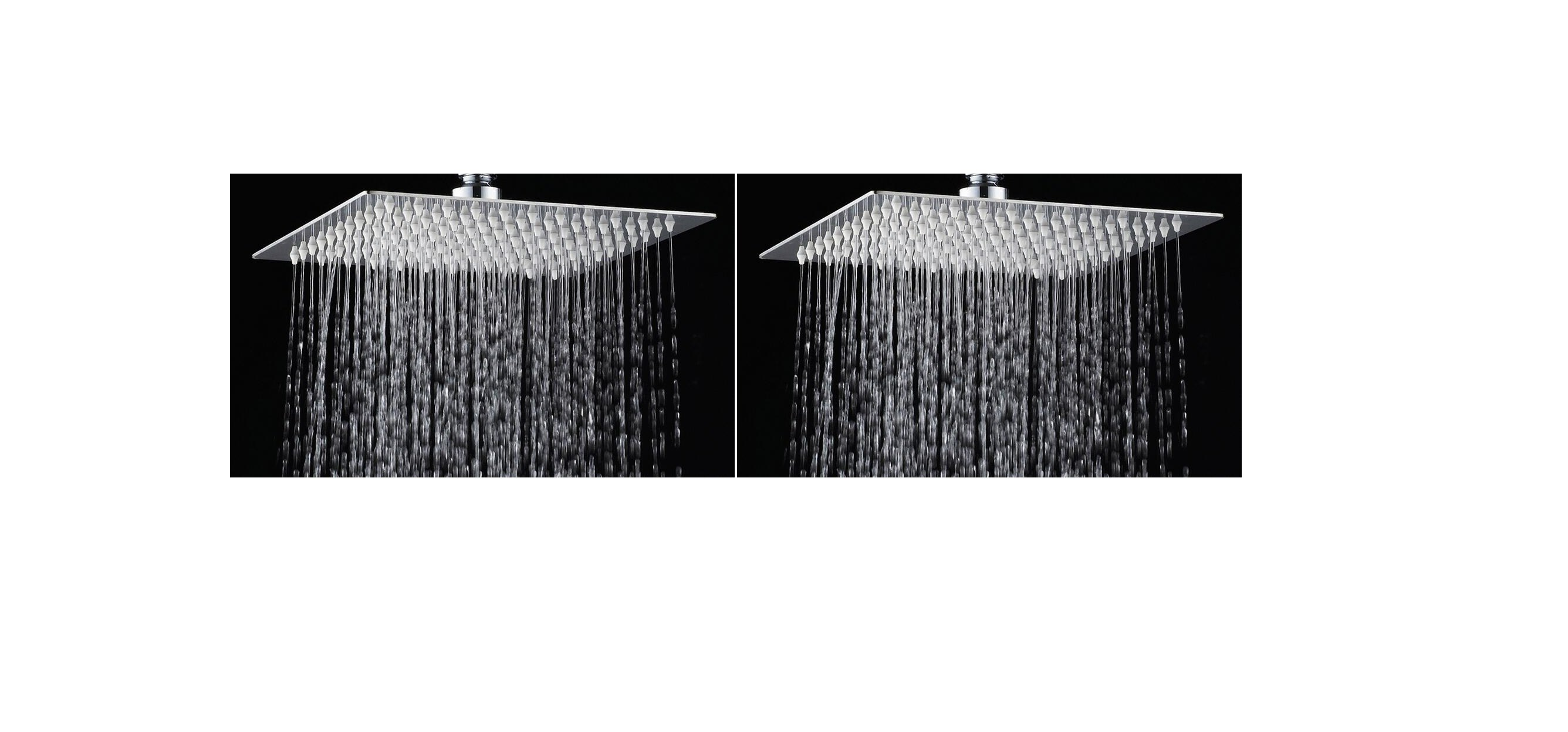 Logger   4 Inches X 4 Inches Ultra Slim Square Shower Head Set Of 2 Pcs