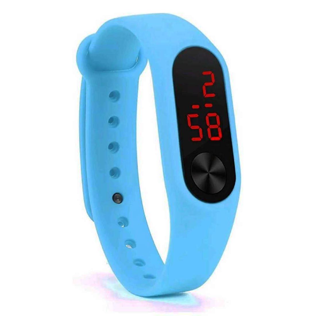 Varni Retail Rubber Magnet New LedSky Blue Digital Watch M2 LED RED   For Boys Girls