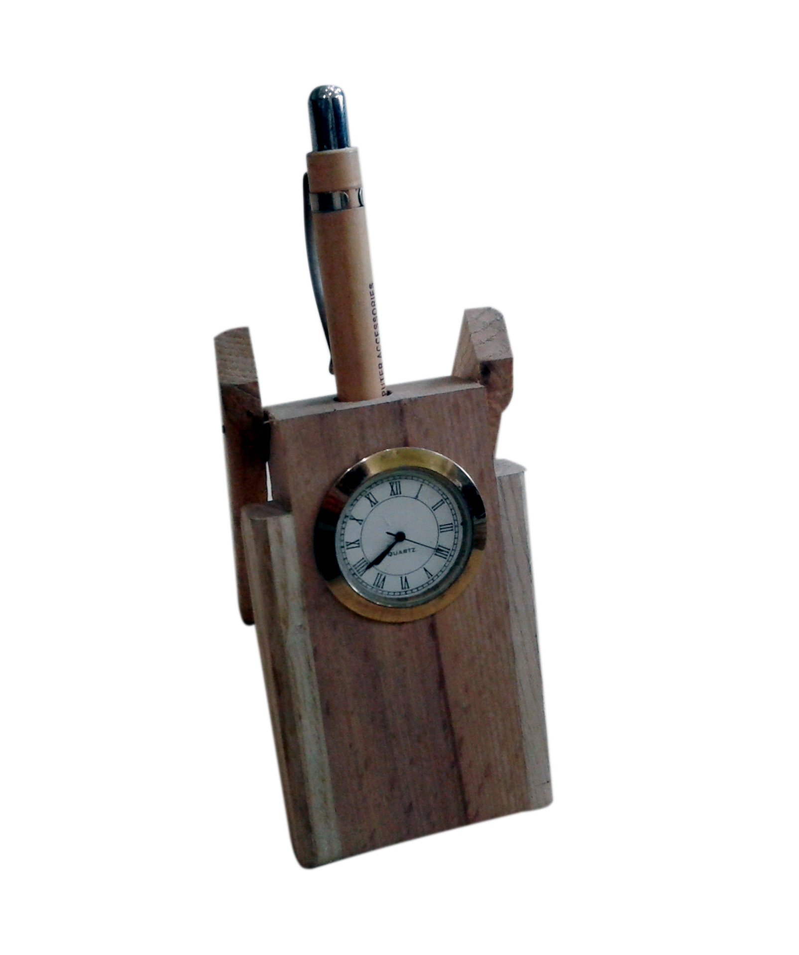 Onlineshoppee Wooden Pen Stand With Clock
