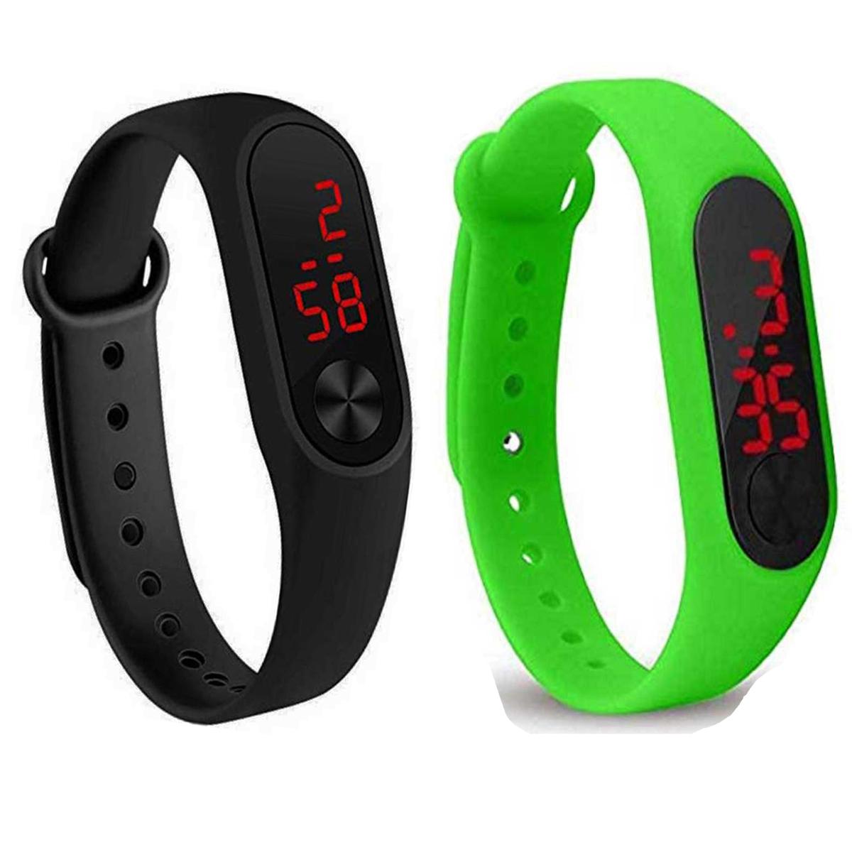 Varni Retail New Led Black Green Digital Watch M2 LED   For Boys Girls