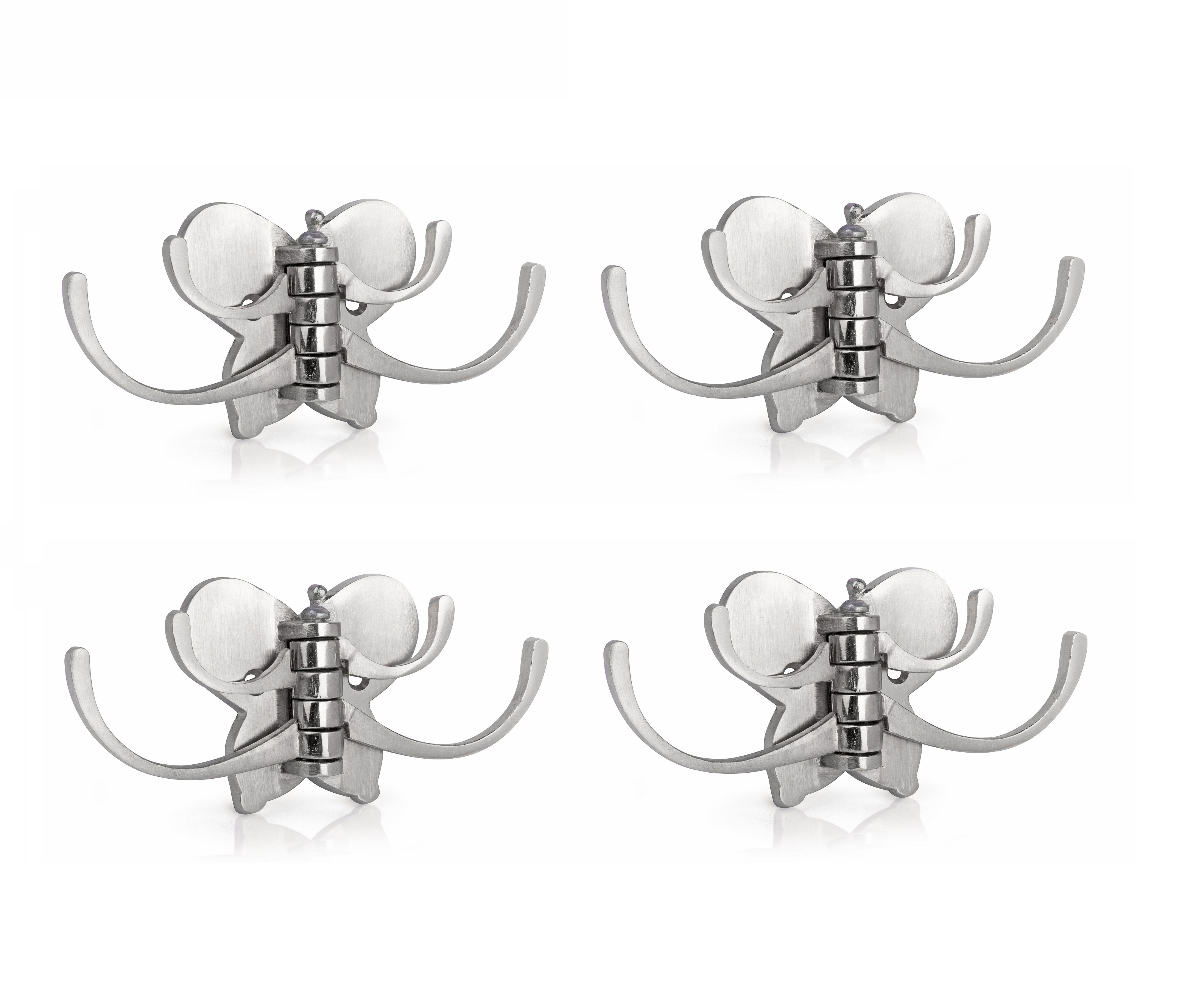 Kurvz butterfly Shape Flexible 4 Pin Cloth Hanger Bathroom Wall Door Hooks For Hanging keys,Clothes,towel  Pack of 4