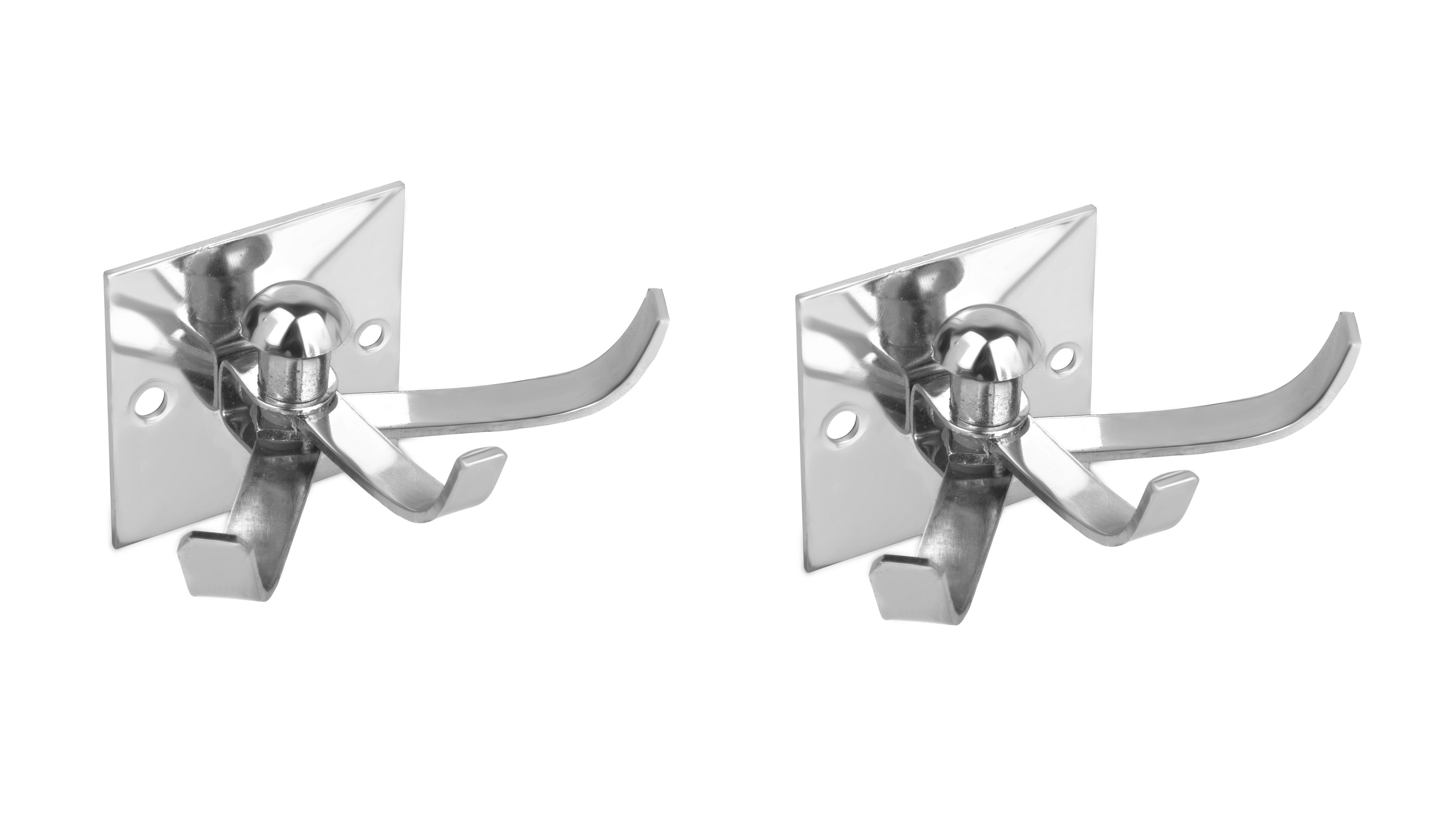 Kurvz Square Shape Flexible 4 Pin Cloth Hanger Bathroom Wall Door Hooks For Hanging keys,Clothes,towel  Pack of 2
