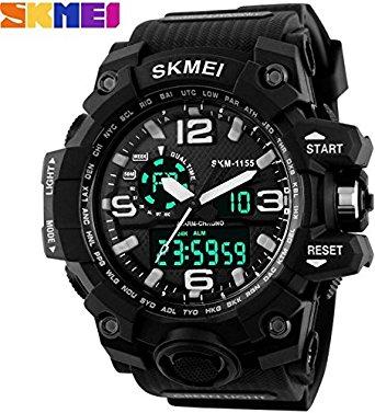 New Skmei Skm 1155 Black Best Designing Stylist Analog With Digital Sport Watch For Men,Boys