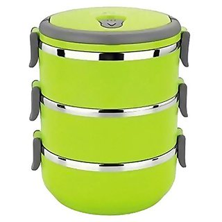 Lunch Box Food Grade Stainless Steel Thermal Hot Vacuum Steel Insulated Lunch Tiffin Box  Green, 3 Layer