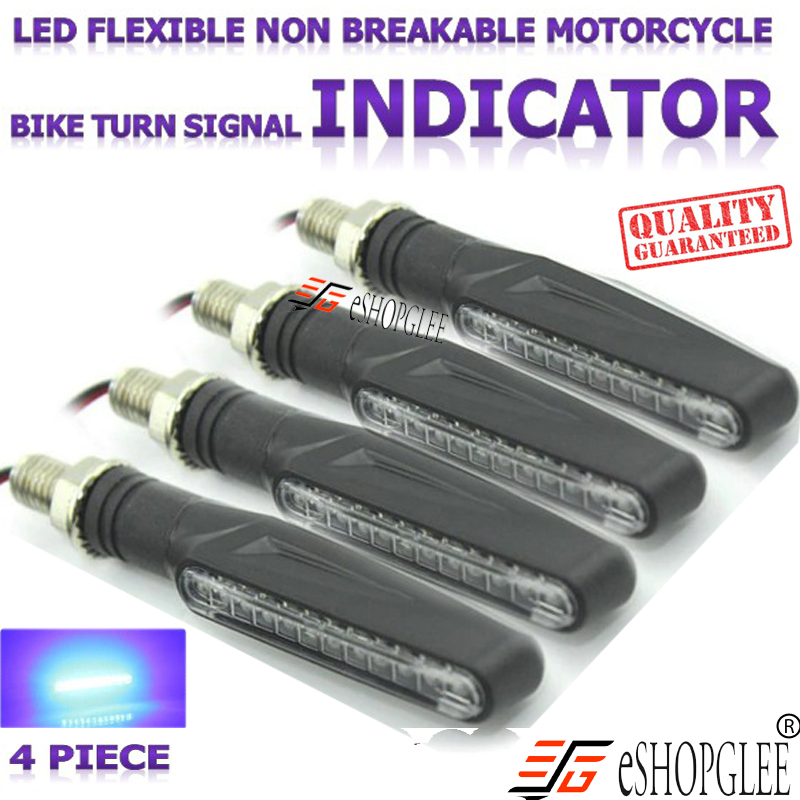 Bike / Motorcycle Side , Front, Rear LED Indicator Light 4 Piece  BLUE  + Free 2 Switches