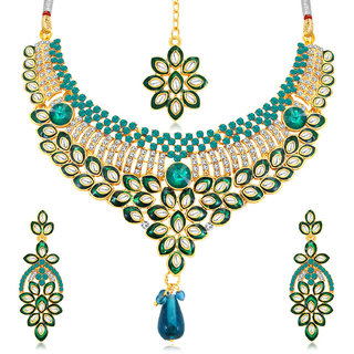 Meia Delightful Gold Plated AD Collar Necklace Set For Women