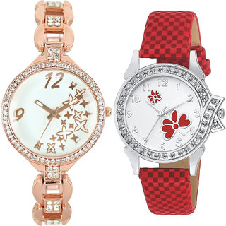 Neutron Classical 3D Design Star And Flower Analogue Gold And Red Color Girls And Women Watch - Gl210-G129 (Combo Of  2 )