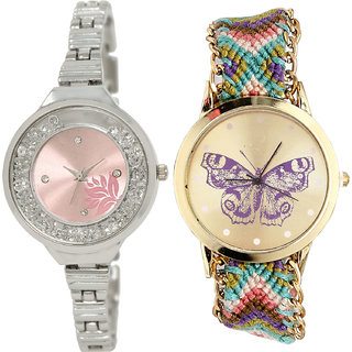 Neutron Contemporary High Quality Flower And Butterfly Analogue Silver And Multi Color Color Girls And Women Watch - Gl226-G133 (Combo Of  2 )
