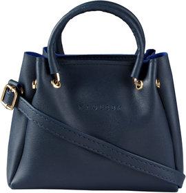 HAQEEBA_Women Casual Navy Blue leatherette Sling Bag