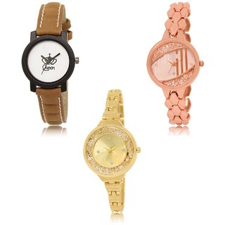 Neutron New Collection Queen And Flower Analogue Brown And Gold Color Girls And Women Watch - Gl209-Gl222-Gl224 (Combo Of  3 )
