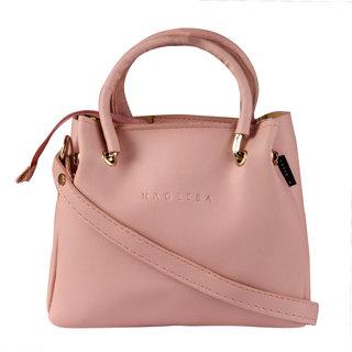 HAQEEBA_Women Casual Pink leatherette Sling Bag