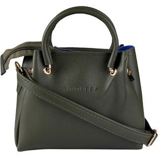 HAQEEBA_Women Casual Milletary Green leatherette Sling Bag