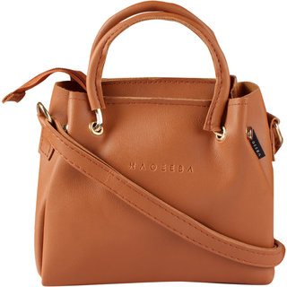 HAQEEBA_Women Casual Tan leatherette Sling Bag