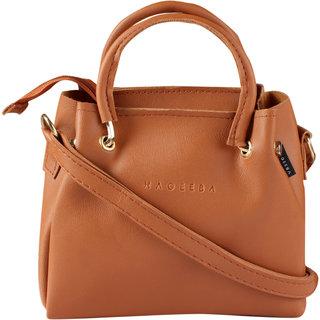 HAQEEBA_Women Casual Tan leatherette Sling Bag