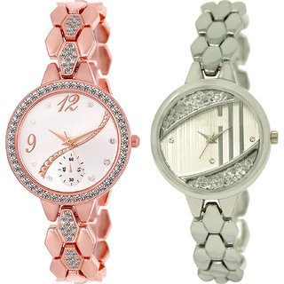 Neutron New Technology  Analogue Gold And Silver Color Girls And Women Watch - Gl215-Gl223 (Combo Of  2 )