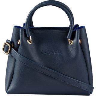 Haqeeba Navy Plain Leatherite Magnetic Button Sling Bag For Women