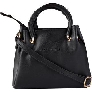 HAQEEBA_Women Casual Black leatherette Sling Bag