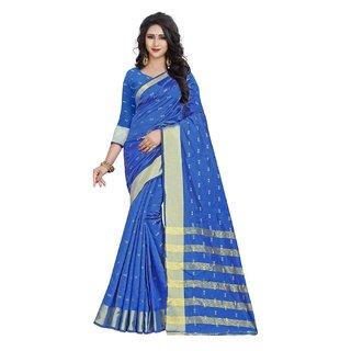 Indian Fashionista Womens Chanderi Cotton Silk Saree with Unstiched Blouse Piece Jari Butta Saree