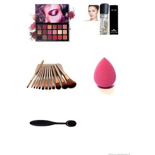 Hudda Eyeshadow Palette set of 12 brushes and primer + with oval brush  blender