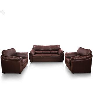 Earthwood - Lily Sofa Set 3+1+1 Premium Leatherite - Red Brown