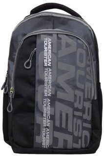 American Tourister Black And Grey Polyester Laptop Bag Backpacks