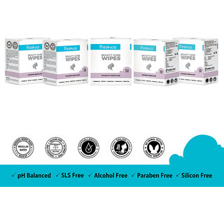 Freshca Makeup Remover Wet Wipes Single Sachet Micellar Water Formula for Face with Paraben Free Silicon Free Alcohol Free (50 pcs)