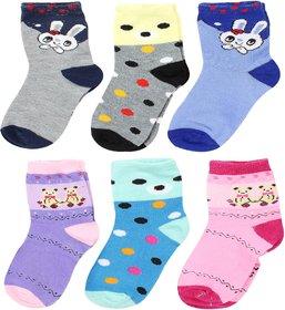Neska Moda Kids 6 Pair Multicolor Cotton Ankle Length Socks 7 To 8 Years SK594