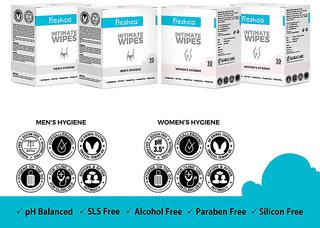Freshca Intimate Unisex Wet Wipes Single Sachet, With Paraben Free, Silicon Free & Alcohol Free (40 pcs) - Wetwipes