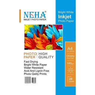 NEHA GLOSSY 180 GSM PLAIN A4 Photo Paper   Set of 1, GLOSSY WHITE