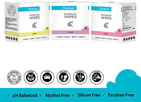 Freshca Wet Wipes for Hand  Face in Floral, Paraben Free, Silicon Free  Alcohol Free (150 pcs) - Wetwipes
