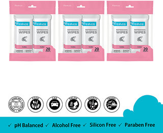 Freshca Wet Wipes for Hand & Face in Floral Fragnance with Paraben Free, Silicon Free & Alcohol Free (60 pcs) - Wetwipes