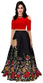 Designer Black And Red Color Bangalore Satin Semi Stitched Lehenga Chol