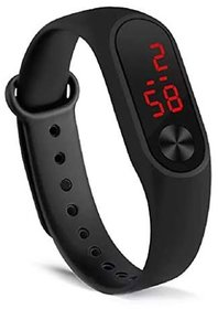 LED Digital Black Silicone Unisex Band By Karnavati
