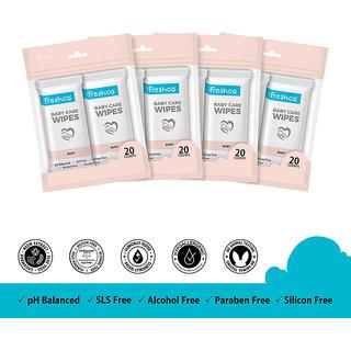 Freshca Baby Wet Wipes Single Sachet Aloe Vera Neem Cucumber Extract with Paraben Free Silicon Free Alcohol Free SLS Free (80 pcs)