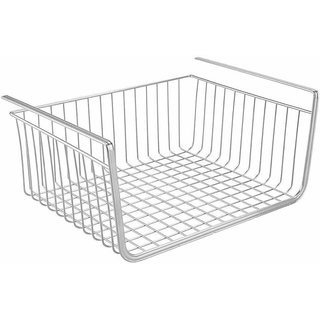 House of Quirk Under Shelf Basket Wire Rack Easily Slides Under Shelves for Extra Cabinet Storage - Silver Iron Kitchen