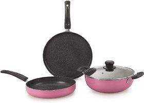 Nirlon Orchid Granite Cookware Combo Gift Set, Pink, 7 Piece (Orchid Granite Set )