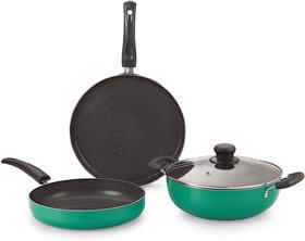 Nirlon Greenchef Granite Cookware Combo Gift Set, Green, 7 Piece ( Greenchef Granite Set )