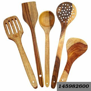 Handmade Wooden Non-Stick Serving And Cooking Spoons Kitchen Tools Utensil, Set Of 5