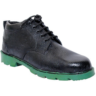 JK Steel Men's Black Genuine Leather Safety Shoes
