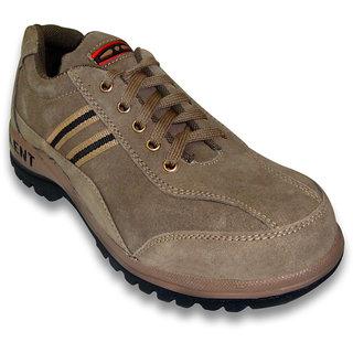 JK Steel Men's Beige Genuine Leather Safety Shoes
