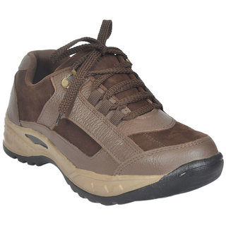 JK Steel Men's Brown Genuine Leather Safety Shoes