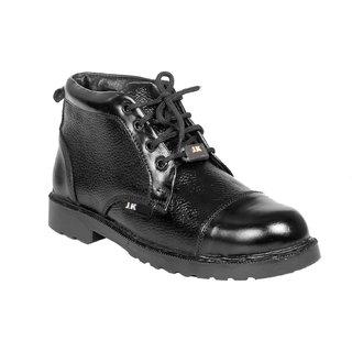 JK Steel Men's Black Genuine Leather Safety Shoes