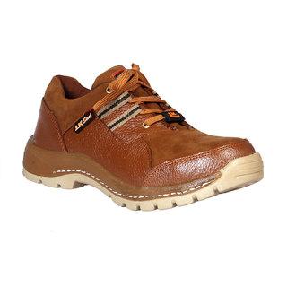 JK Steel Men's Brown Genuine Leather Safety Shoes