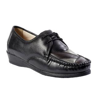JK Port Women's Black Genuine Leather Casual Shoes