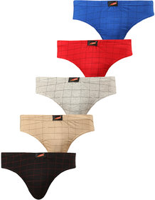 SOLO Mens Multicolor Checks Elastic Cotton Ultra Soft Stretchable Brief (Pack of 5)