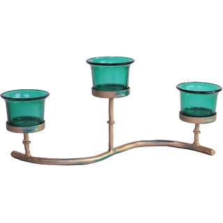 Hosley Iron Tabletop TeaLight Candle Holder with 3 Green glass cup and Tealights, Home Decor, Gift Accessories Living Room, Diwali Pooja Diya, Lighting