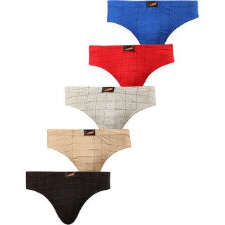SOLO Mens Multicolor Checks Elastic Cotton Ultra Soft Stretchable Brief (Pack of 5)