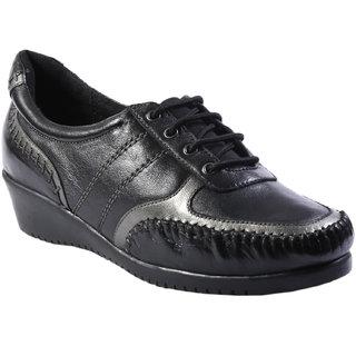 JK Port Womens Black Genuine Leather Formal Shoes