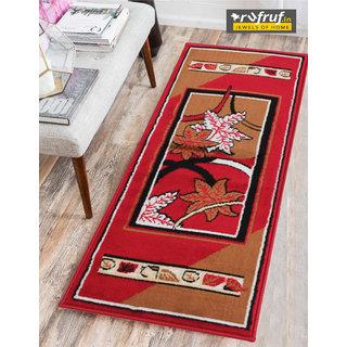 Rufruf Traditional Design Bedside Runner/ Rug/ Passage Area Rug, Viscose, Soft  (50 x 152.4 Cm) - Red